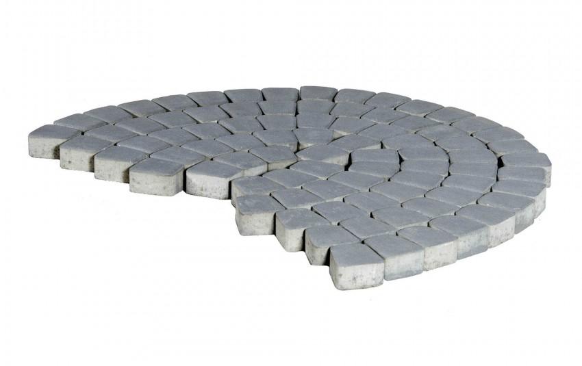 Тротуарная плитка BRAER Классико круговая, Серый, высота 60 мм