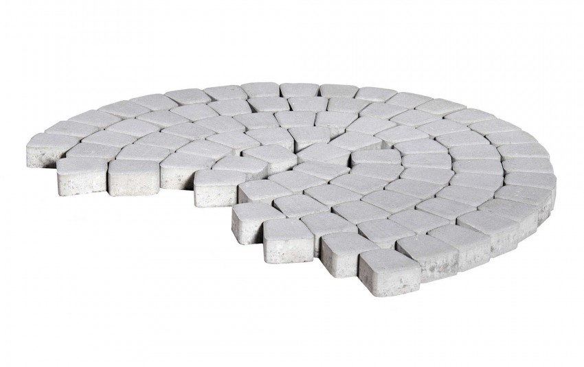 Тротуарная плитка BRAER Классико круговая, Серебристый, высота 60 мм