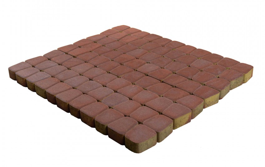 Тротуарная плитка BRAER Классико круговая, Винный, высота 60 мм