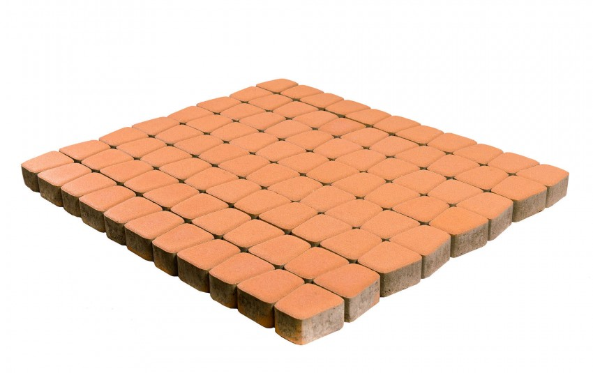 Тротуарная плитка BRAER Классико круговая, Кораловый, высота 60 мм