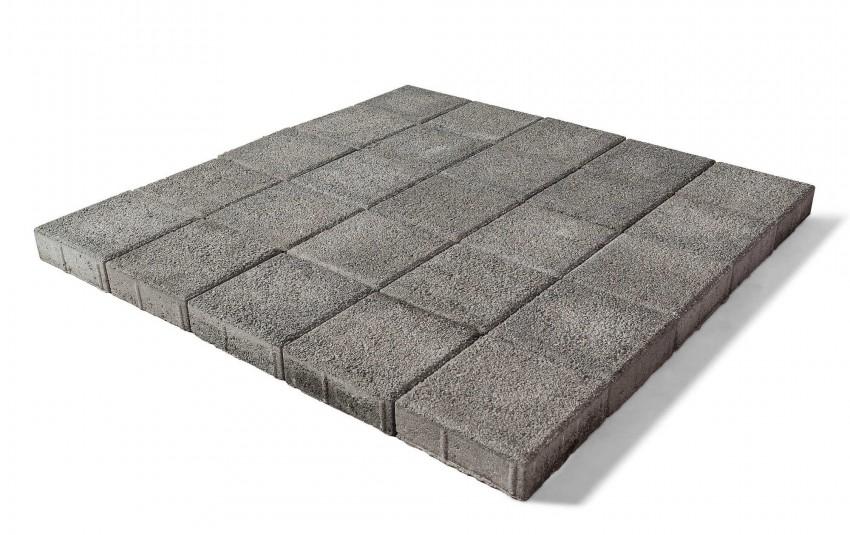 Тротуарная плитка BRAER Лувр, Гранит серый, высота 60 мм