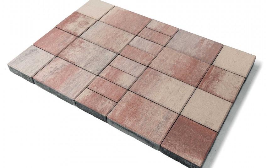 """Тротуарная плитка BRAER Мозаика, Color Mix """"Фламинго"""", высота 60 мм"""