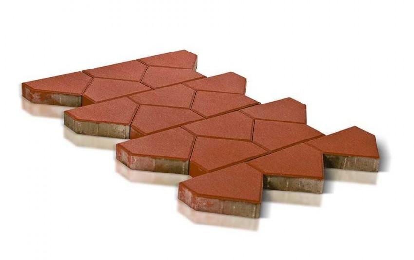 Тротуарная плитка BRAER Тиара, красный, высота 60 мм