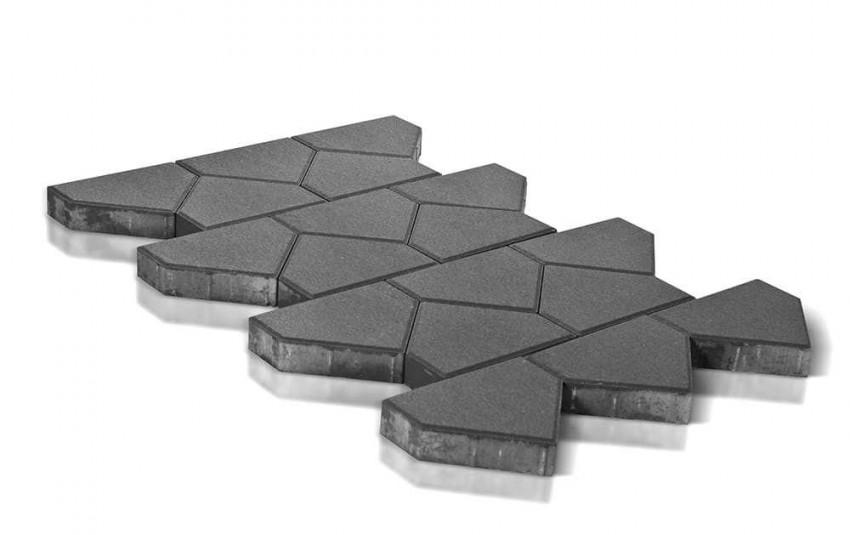 Тротуарная плитка BRAER Тиара, серый, высота 60 мм