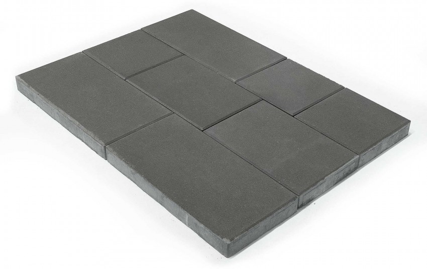 Тротуарная плитка BRAER Триада, Серый, высота 60 мм