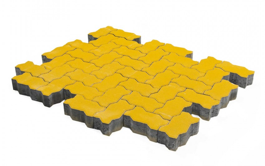 Тротуарная плитка BRAER Волна, Желтый, высота 80 мм